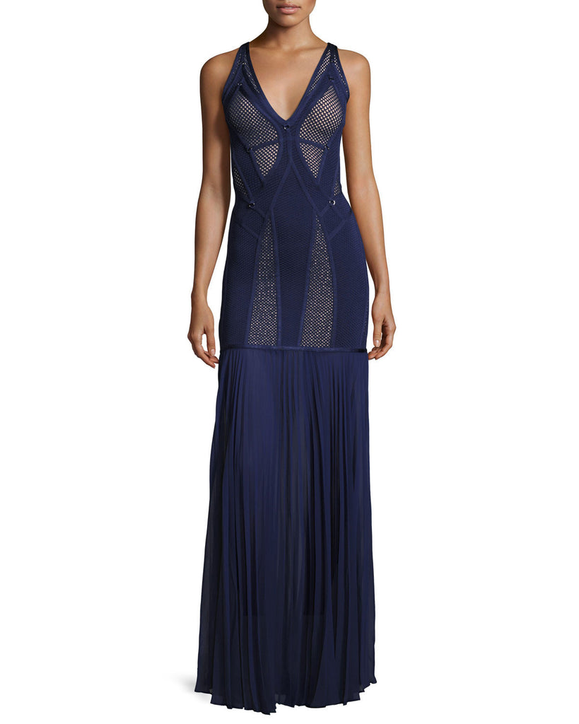 Midnight Blue Chiffon And Bandage Gown-POSH GIRL-Posh Girl
