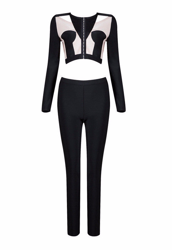 Black & White Color Block Bandage Pants Suit-POSH GIRL-Posh Girl