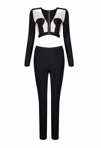 Black & White Color Block Bandage Pants Suit for $1.68 at Posh Girl