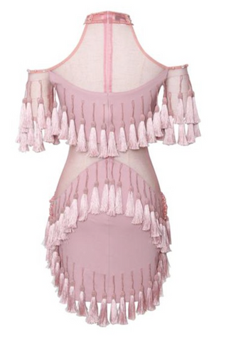 Shake Him Off Pink Tassel Bodycon Mini Dress for $2.28 at Posh Girl