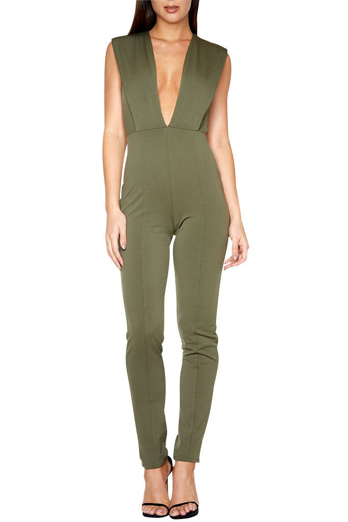 Deep V-Neck Bodycon Jumpsuit-POSH GIRL-Posh Girl