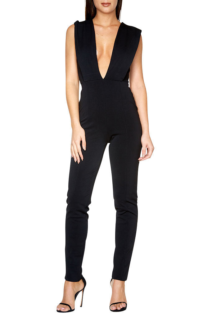 Deep V-Neck Bodycon Jumpsuit for $1.38 at Posh Girl