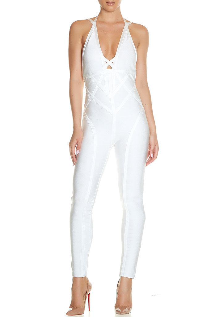 Pesha V-Neck Bandage Jumpsuit for $1.38 at Posh Girl