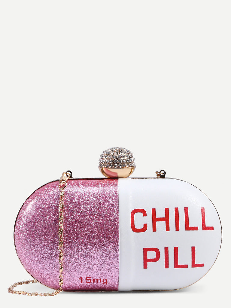 Bejeweled Chill Pill Clutch Bag-POSH GIRL-Posh Girl