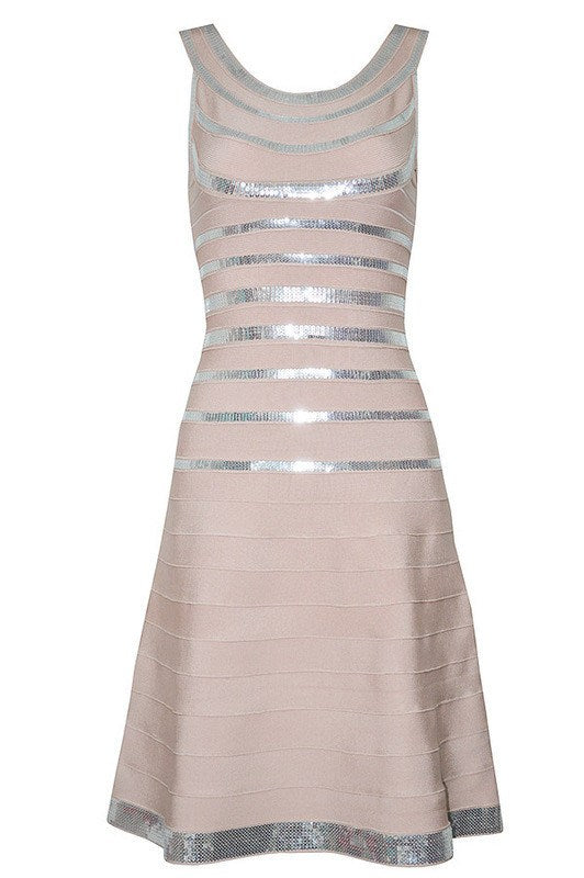 Posh Girl Beige Sequins Bandage Dress-POSH GIRL-Posh Girl