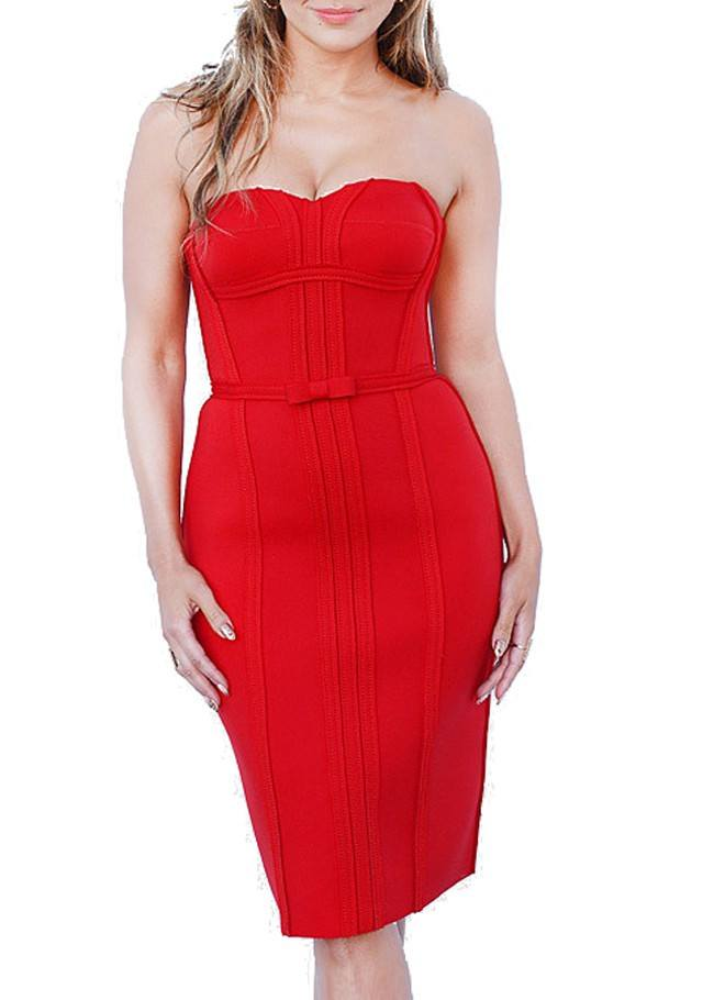 Posh GirlL Red Love Bow Strapless Cocktail Dress-POSH GIRL-Posh Girl