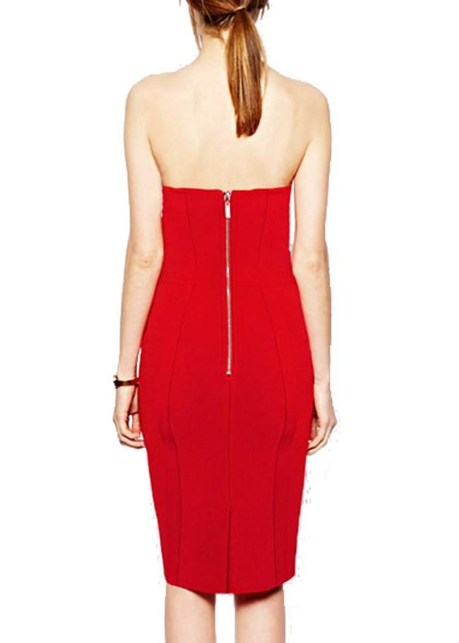 Bandage,Dresses - Posh GirlL Red Love Bow Strapless Cocktail Dress