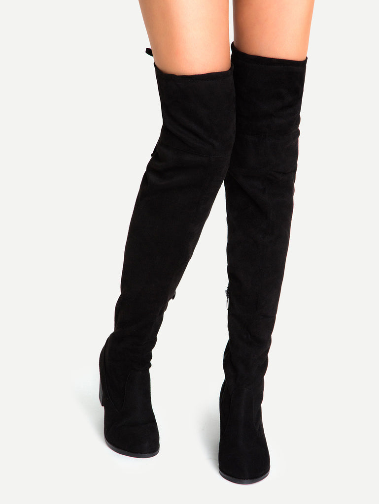 Chunky Heel Over The Knee High Lace-Up Boots for $0.98 at Posh Girl