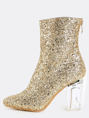 Glitter Glass Stack Heel Booties for $1.18 at Posh Girl