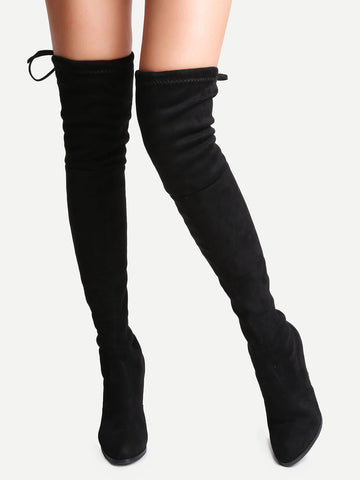 Vegan Suede Lace-Up Over The Knee Boots for $0.98 at Posh Girl