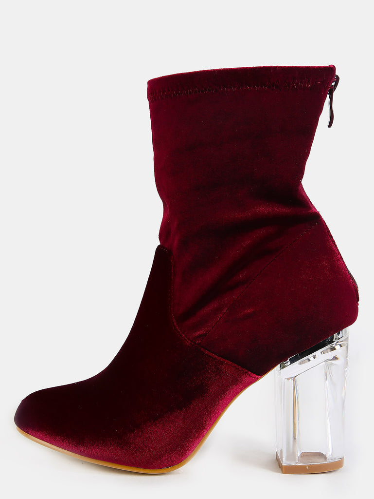 Velvet Glass Stack Heel Booties