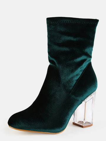 Velvet Glass Stack Heel Booties for $1.08 at Posh Girl