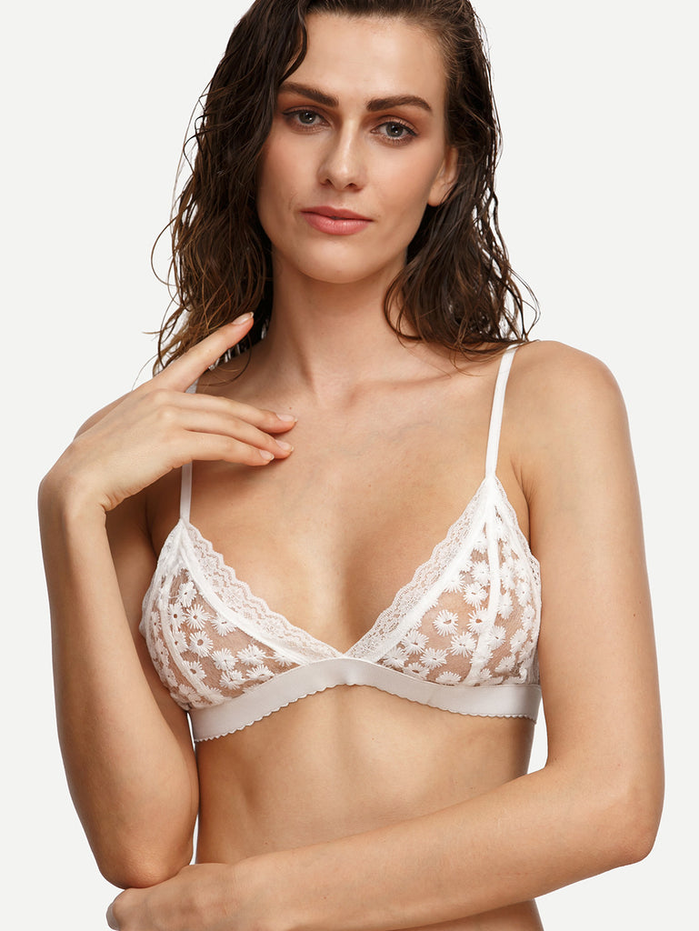 White Floral Embroidered Lace  Bralette-POSH PROVOCATEUR-Posh Girl