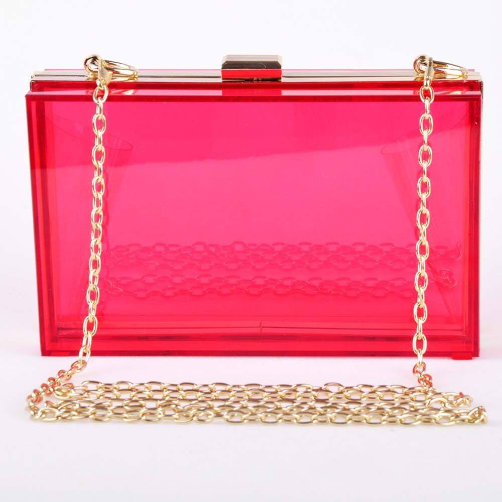 Brands,Accessories,Collections - POSH GIRL Starlet Hot Pink Acrylic Clutch Bag