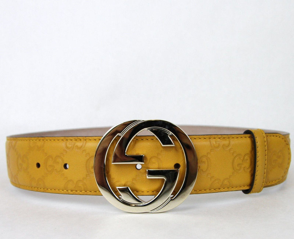 GUCCI Belt w/Interlocking G Buckle Yellow-GUCCI-Posh Girl