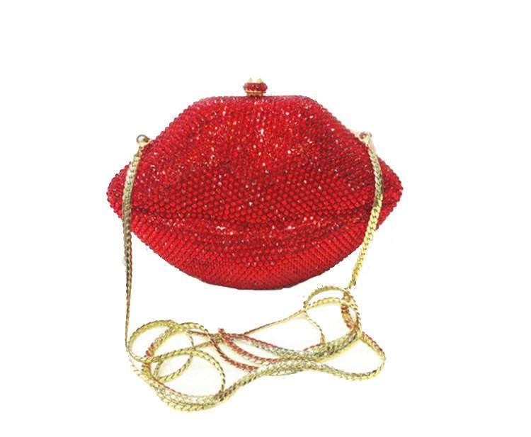 Scarlet Red Lips Rhinestone Clutch Bag-POSH GIRL-Posh Girl