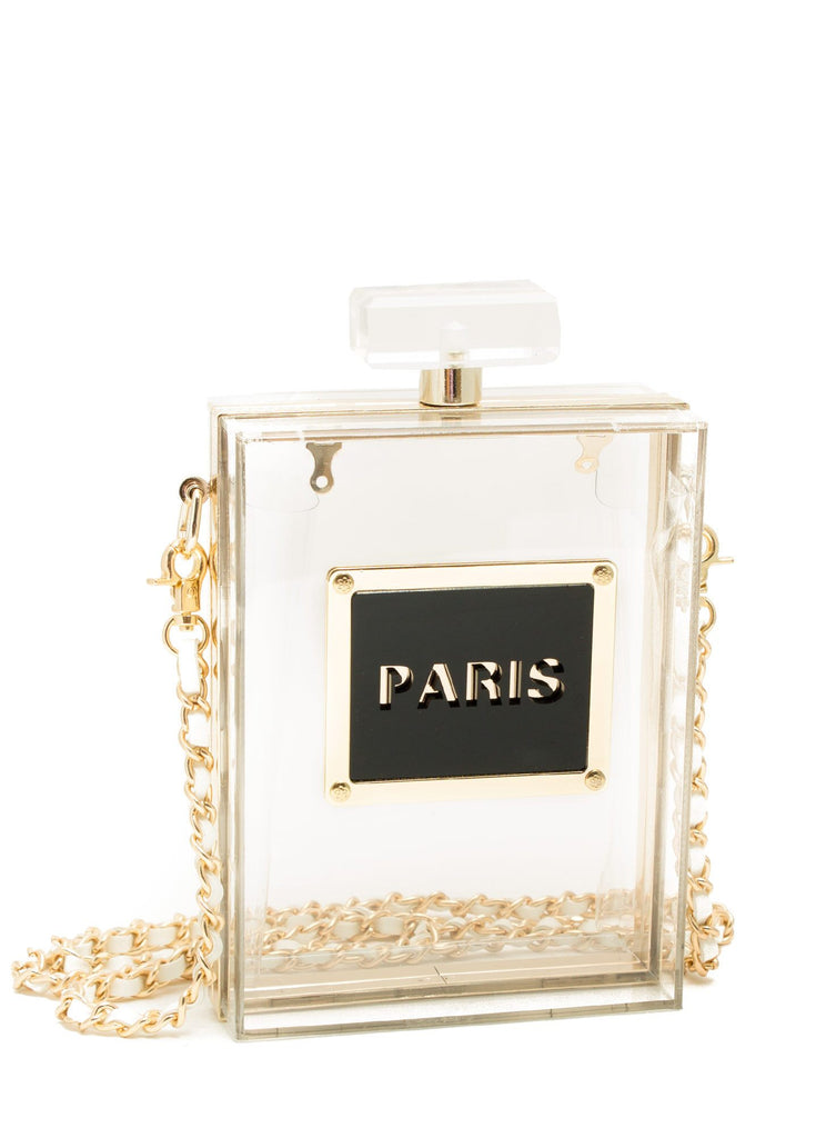 Acrylic Perfume Bottle Clutch Bag Clear-POSH GIRL-Posh Girl