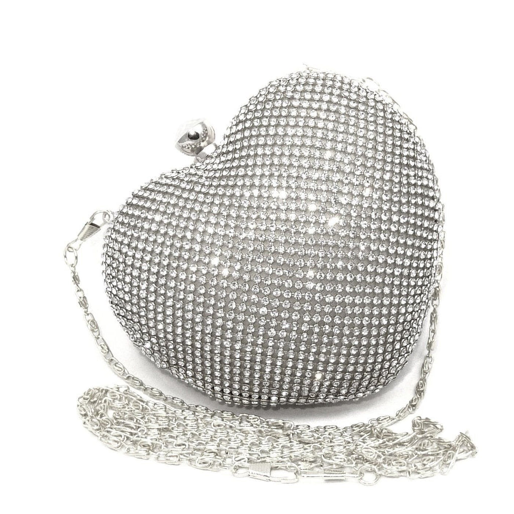 Brands,Accessories - Posh Girl Crystal Heart Shape Evening Clutch Bag