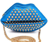 Gold Studded Lip Clutch Bag