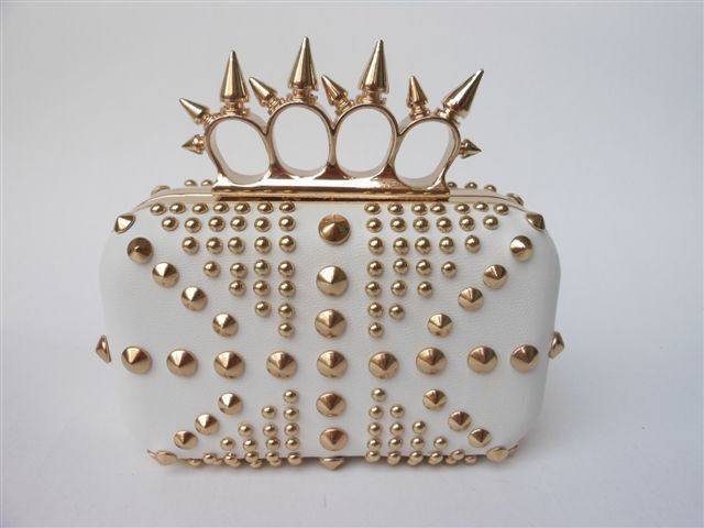 Brands,Accessories - Posh Girl Ring Top Studded Leather  Handbag Clutch