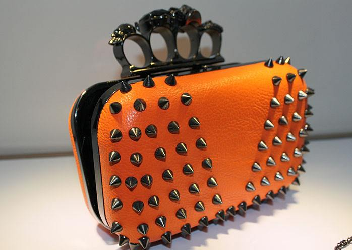Skull Ring Top Studded Leather Clutch for $0.88 at Posh Girl
