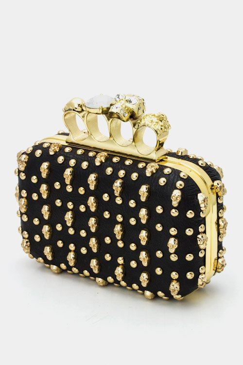 Skulls And Diamonds Clutch Handbag-POSH GIRL-Posh Girl