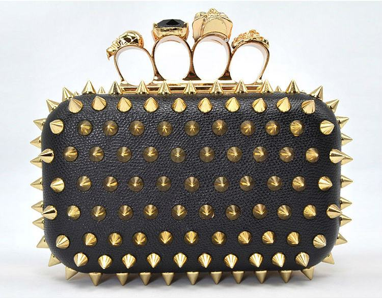 Brands,Accessories - Posh Girl  Spiked Studded Ring Clutch Handbag