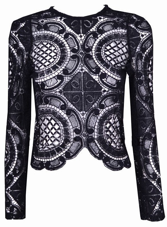 Brands,Apparel,Collections - Posh Girl Lexi Lace Long Sleeve Blouse