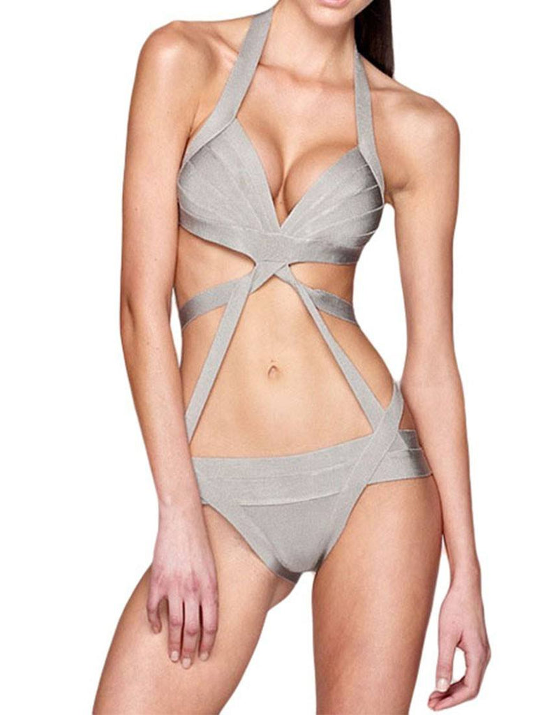 Brands,Apparel,Dresses - Posh Girl Aya Gray Bandage Swimsuit