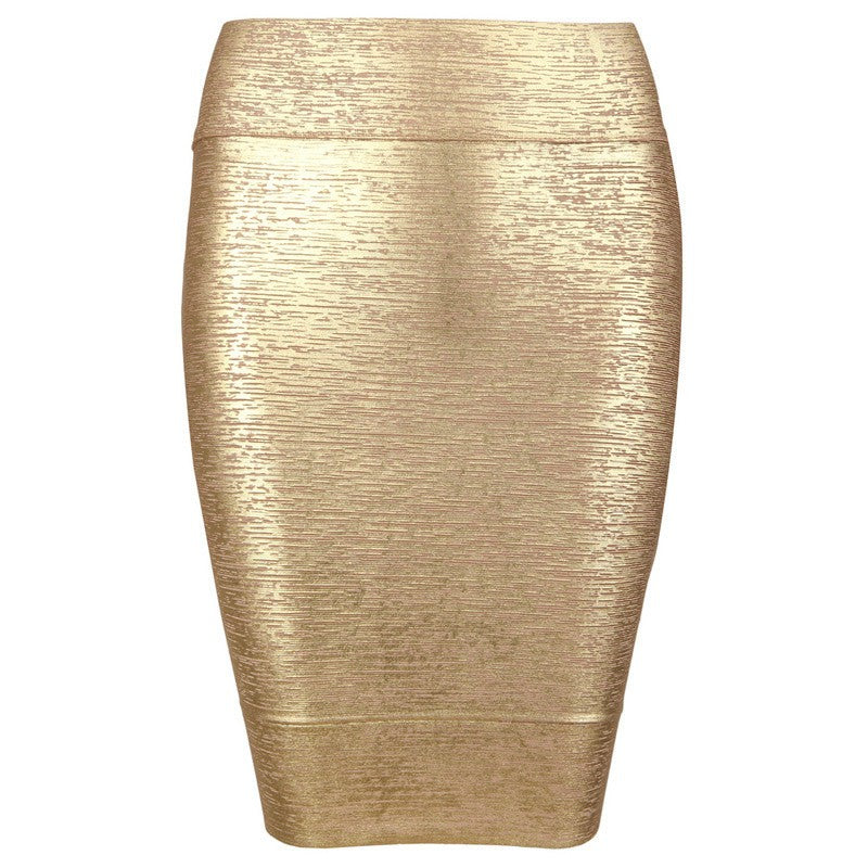 Posh Girl Gold Foil Print Bandage Mini Skirt-POSH GIRL-Posh Girl