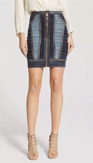Blue Multi Bandage Denim Mini Skirt-POSH GIRL-Posh Girl