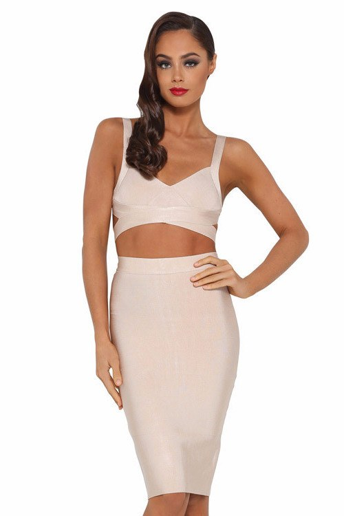 Posh Girl Beige High Waist Bandage Skirt Set-POSH GIRL-Posh Girl