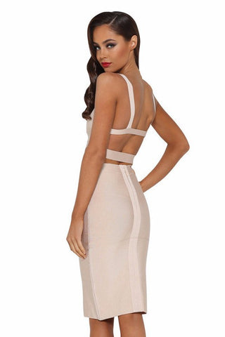 Brands,Apparel - Posh Girl Beige High Waist Bandage Skirt Set