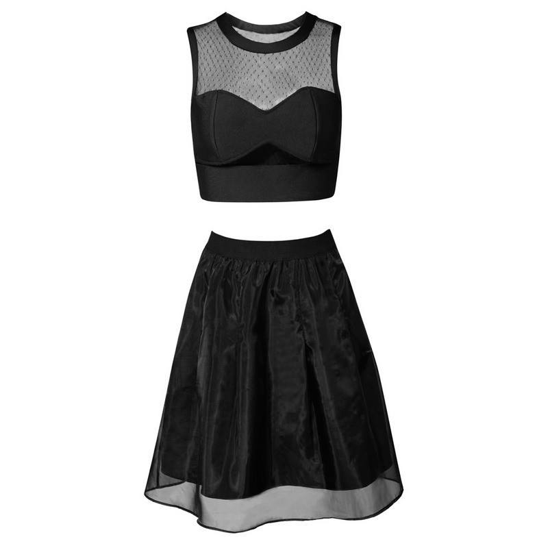 Brands,Apparel - Posh Girl Black Sweetheart Neckline Skirt Set