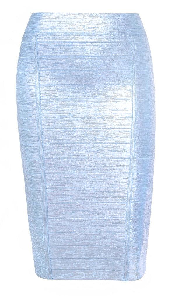 Posh Girl Blue Foil Print Bandage Skirt-POSH GIRL-Posh Girl