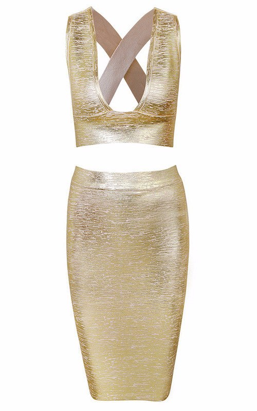 Brands,Apparel - Posh Girl Gold Foil Print Bandage Skirt Set