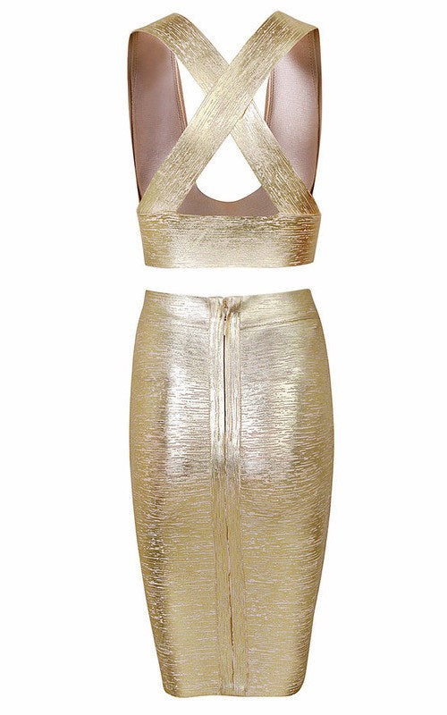 Posh Girl Gold Foil Print Bandage Skirt Set for $1.48 at Posh Girl