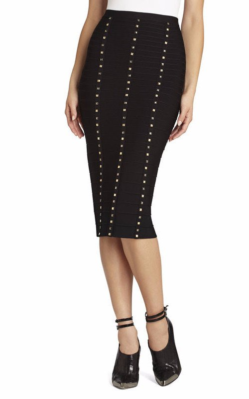 POSH GIRL Studded High Waist Bandage Skirt-POSH GIRL-Posh Girl