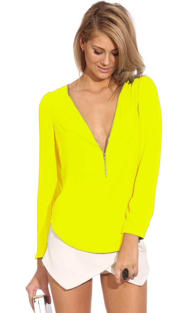 Brands,Apparel - Posh Girl V-Neck Zipper Front Blouse Neon Yellow
