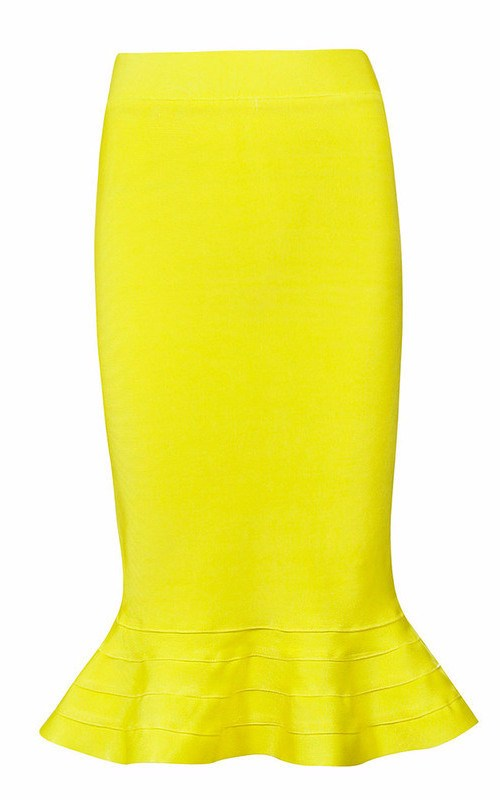 Brands,Apparel - Posh Girl Wiggle Yellow Bandage Skirt