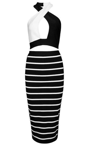Brands,Collections,Apparel - Posh Girl Black And White Halter Bandage Skirt Set