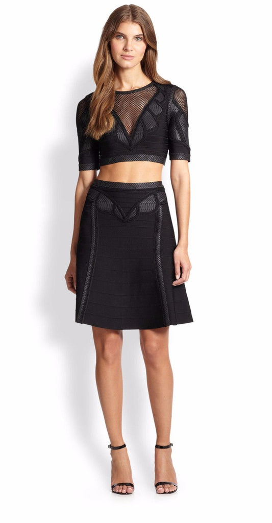 Black Mesh Insert Bandage Skirt Set-POSH GIRL-Posh Girl