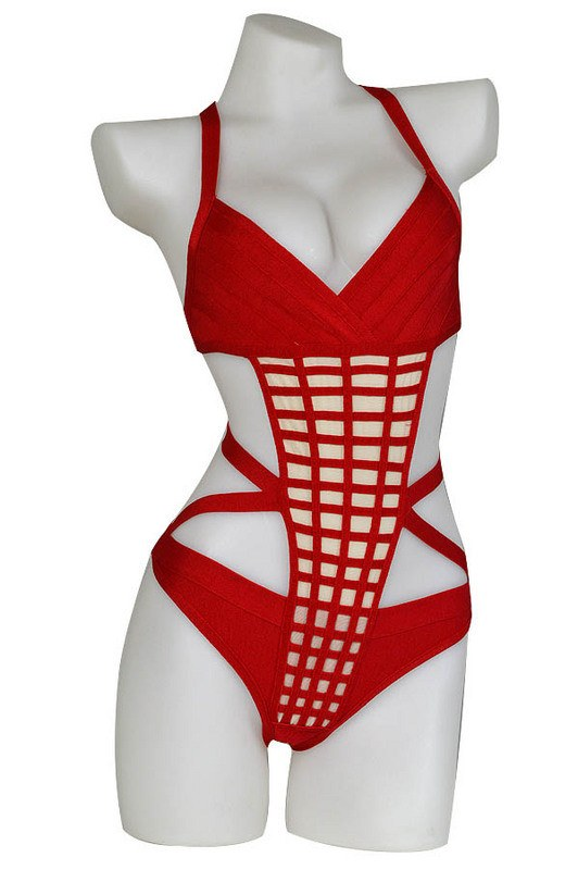 Brands,Collections,Apparel - POSH GIRL Grace  Red Bandage Swimsuit