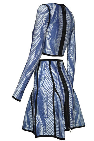 Brands,Collections,Apparel - Posh Girl Palm Blue Multi Bandage Skirt Set
