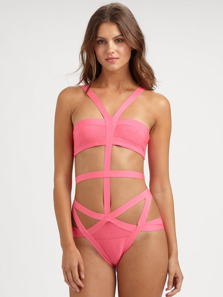 Brands,Collections,Apparel - Posh Girl Pretty  In Pink Bandage One Piece Swimsuit