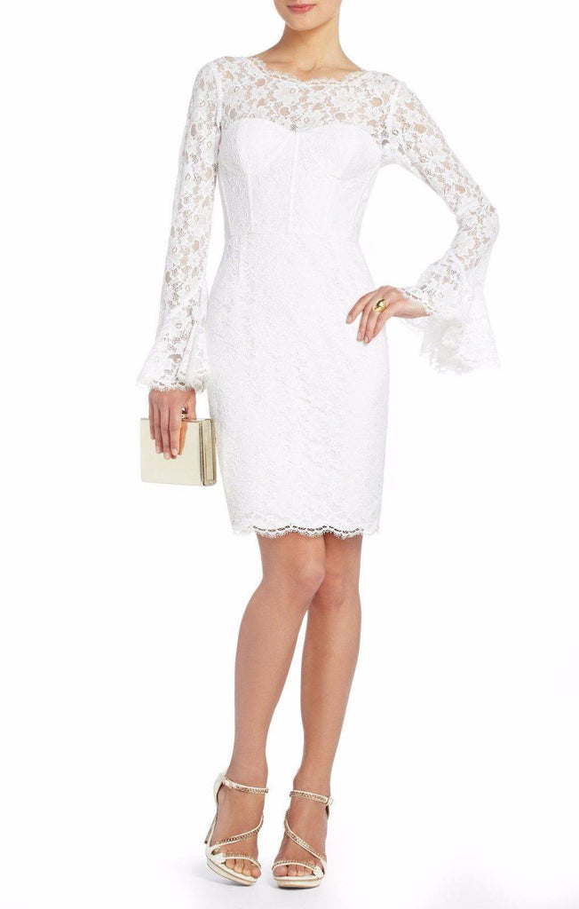 White Lace Salina Long Sleeve Dress-BCBGMAXAZRIA-Posh Girl