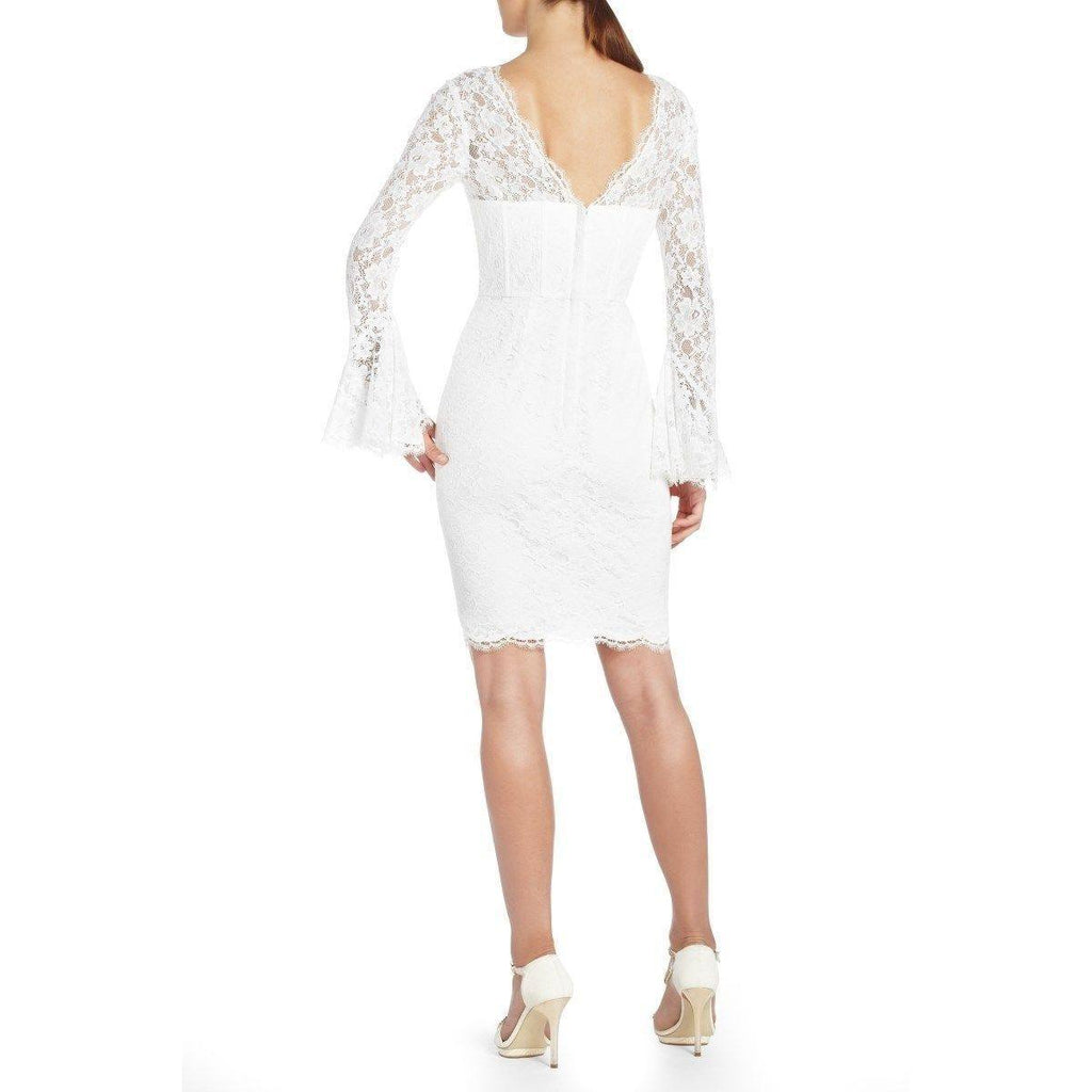 Brands,Collections,BCBGMAXAZRIA - BCBG  White Salina Long Sleeve Dress