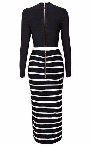 Brands,Collections,Dresses,Apparel,Resort Wear, - Posh Girl Black And White Bandage Maxi Skirt Set