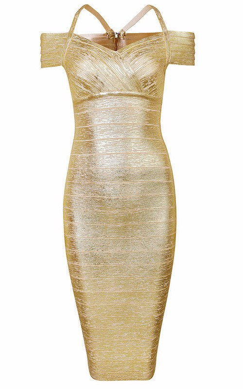Gold Off Shoulder Foil Print Bandage Dress-POSH GIRL-Posh Girl