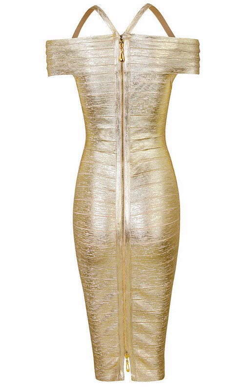 Gold Off Shoulder Foil Print Bandage Dress for $1.78 at Posh Girl